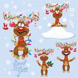 Set of four funny rein deers with christmas lights. Tangled in antlers - Cartoons with different emotions for New Year or Christmas Design Royalty Free Stock Image