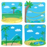 Set of four funny simple nature background. Stock Photos