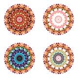 Set of four geometric colorful mandalas. Royalty Free Stock Image