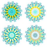 Set of four geometric colorful mandalas. Royalty Free Stock Photo