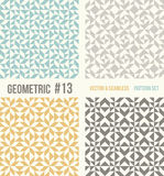 Set of four geometric patterns. Collection of different abstract patterns, number 13. Teal, yellow and grey, dark gray backgrounds. Simple colors - easy to Stock Photography