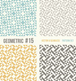 Set of four geometric patterns. Collection of different abstract patterns, number 15. Teal, yellow and grey, dark gray backgrounds. Simple colors - easy to Royalty Free Stock Photography