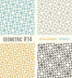 Set of four geometric patterns. Collection of different abstract patterns, number 14. Teal, yellow and grey, dark gray backgrounds. Simple colors - easy to stock illustration