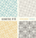 Set of four geometric patterns. Collection of different abstract patterns, number 16. Teal, yellow and grey, dark gray backgrounds. Simple colors - easy to Stock Images