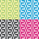 Set of four geometric patterns with green yellow pink black grey and blue rectangles Royalty Free Stock Images