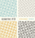 Set of four geometric patterns. Collection of different abstract patterns, number 10. Teal, yellow and grey, dark gray backgrounds. Simple colors - easy to Stock Images