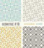 Set of four geometric patterns, teal, yellow and grey colors. Set of four geometric patterns. Collection of different abstract patterns, number 18. Teal, yellow Royalty Free Stock Photography
