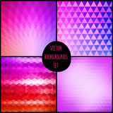 Set of four geometric patterns. Texture with triangles. Mosaic. Can be used for wallpaper, pattern fills, web page background, surface textures. Colorful royalty free stock photos
