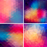 Set of four geometric templates. Triangles pattern of geometric Royalty Free Stock Photography