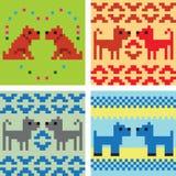 Set of four  geometrical patterns. Gogs pixel patterns Royalty Free Stock Photos