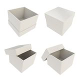 Set of four gift boxes isolated on white Stock Photos