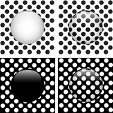 Set of Four Glass Circle Black and White Dots Stock Images