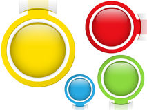 Set of Four Glass Circle Buttons Stock Photography