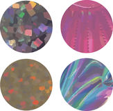 Set of four glitter and holographic circles royalty free illustration