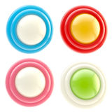Set of four glossy button isolated Stock Images