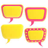 Set of four glossy text bubbles isolated Royalty Free Stock Image