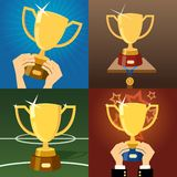 Set of four gold trophies or cups Stock Photos