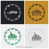Set of four Golden Arabic Islamic Calligraphy Text Ramadan Kareem on abstract background, Hand-drawn greeting card or invitation. Card collection, Creative vector illustration