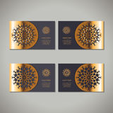 Set of four golden floral ornamental cards Royalty Free Stock Photography