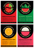 Set of four graphic design brochure templates with Fresh fruits Stock Photos