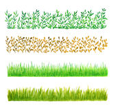 Set of Four Grass Watercolor Borders Stock Photography