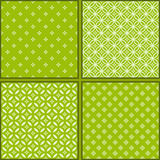 Set of Four green floral patterns Royalty Free Stock Photo