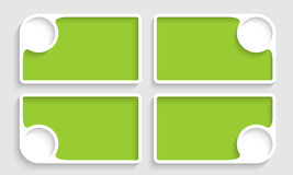 Set of four green text boxes Stock Images