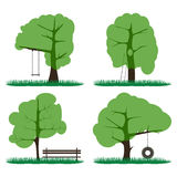 Set of four green trees, a bench, a staircase with a hollow Royalty Free Stock Images