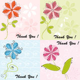 Set of four greeting cards with cute flowers Royalty Free Stock Photo