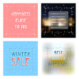 Set four greetings card with various backgrounds Stock Image