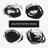 Set of four grunge creative painted circles for logo, label, branding Royalty Free Stock Photo
