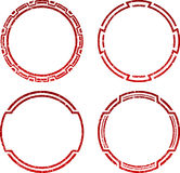 Set of four grunge red  templates for rubber stamps Royalty Free Stock Image