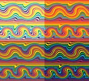 Set with four grunge striped colorful seamless patterns. Seamless striped wavy rainbow pattern set Stock Photography