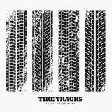 Set of four grungy wheel tire tracks. Vector Stock Photography