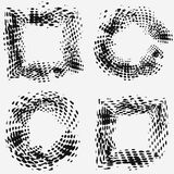Set with four halftone frames, grungy style, modern design elements.  vector illustration