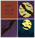 Set of four halloween Greeting cards /Full moon party. Halloween illustrations set poster card vector illustrations / Full moon flying bats beyond graves Royalty Free Stock Images