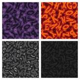 Set of Four Halloween Seamless Patterns Stock Photo