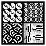 Set of four hand drawing zentangle patterns Stock Images
