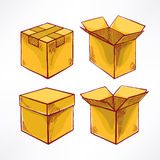 Set with four hand-drawn boxes Royalty Free Stock Image