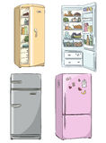 Set of four hand drawn cartoon fridges.  Vector illustration. Stock Photography