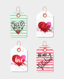 Set of four hand drawn gift tags. Royalty Free Stock Images