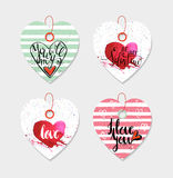 Set of four hand drawn gift tags. Stock Photo