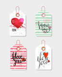 Set of four hand drawn gift tags. Stock Image