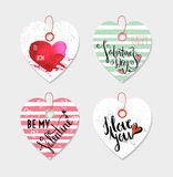 Set of four hand drawn gift tags. Royalty Free Stock Photo