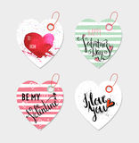 Set of four hand drawn gift tags. Stock Images