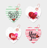 Set of four hand drawn gift tags. Royalty Free Stock Image