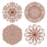 Set of four hand drawn mehandi ornaments Stock Images