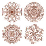 Set of four hand drawn mehandi ornaments Royalty Free Stock Photo