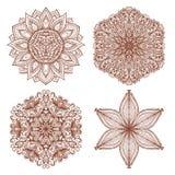 Set of four hand drawn mehandi ornaments Royalty Free Stock Photo