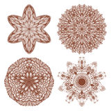 Set of four hand drawn mehandi ornaments Royalty Free Stock Photography